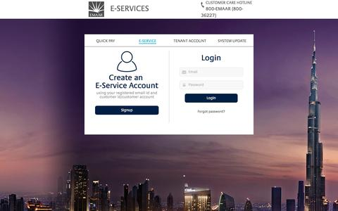 Screenshot of Login Page emaar.com - Emaar Eservice | Home - captured June 20, 2016