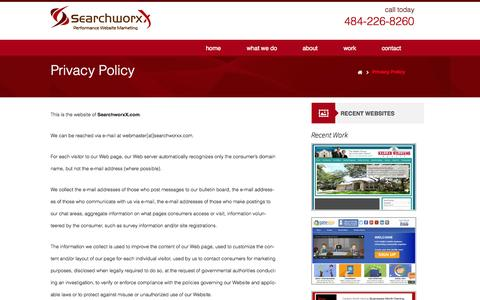 Screenshot of Privacy Page searchworxx.com - Privacy Policy | SearchworxX - Digital Marketing Agency - Lead and Sales Generation Strategy, Audience Targeting, Conversion Optimization, Digital Media Planning - captured Sept. 30, 2014