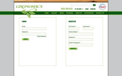 Screenshot of Login Page gronomics.com - Gronomics - captured Dec. 15, 2015