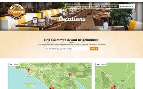 Screenshot of Locations Page sammyspizza.com - Locations | Sammy's Woodfired Pizza - captured Feb. 4, 2016