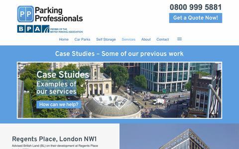 Screenshot of Case Studies Page parking-pros.co.uk - Car parking solutions - Case studies | Parking Professionals - captured Sept. 26, 2018