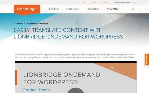 Lionbridge OnDemand for Wordpress