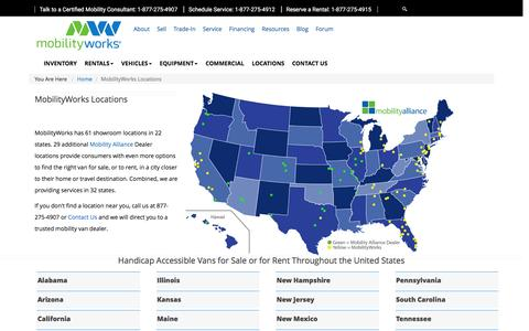 Screenshot of Locations Page mobilityworks.com - Locations | Mobility Alliance Dealer | MobilityWorks - captured Aug. 8, 2016