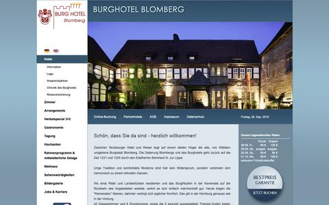 Screenshot of Home Page burghotel-blomberg.de - Burghotel Blomberg in Lippe, Nordrhein-Westfalen - captured Sept. 28, 2018