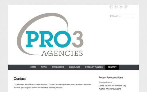 Screenshot of Contact Page pro3agencies.co.za - Contact | Pro3 Agencies - captured July 22, 2018