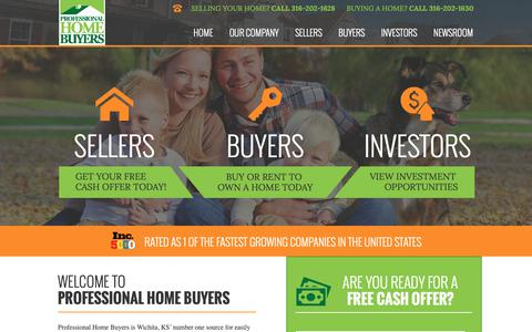 Screenshot of Home Page prohomebuyer.com - Professional Home Buyers Wichita | Buy, Sell, or Rent to Own Houses - captured Sept. 29, 2018