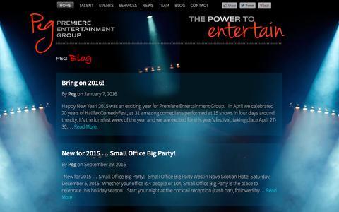 Screenshot of Blog pegentertainment.ca - Our Blog - Premiere Entertainment Group - PEG | Talent Agency, Corporate Events - captured Jan. 31, 2016