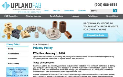 Screenshot of Privacy Page uplandfab.com - Privacy Policy | Upland Fab Privacy Policy | Information | Upland Fab - captured Oct. 19, 2018