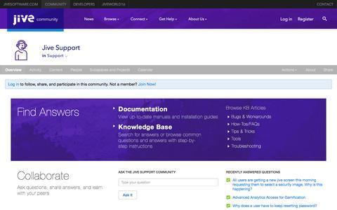 Screenshot of jivesoftware.com - Space: Jive Support | Jive Community - captured March 19, 2016