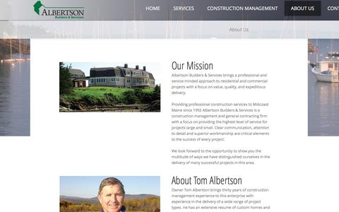 Screenshot of About Page albertsonbuilders.com - About Us - captured Nov. 20, 2016