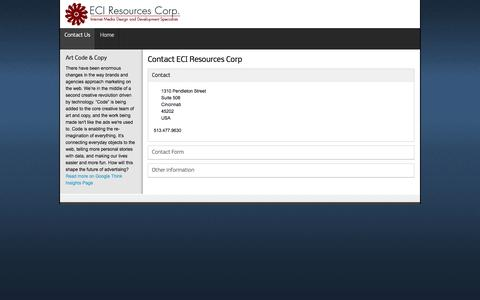 Screenshot of Contact Page eciresources.com - Contact ECI Resources Corp - captured Oct. 1, 2014