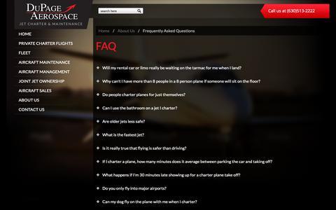 Screenshot of FAQ Page dupageaerospace.com - FAQs   DuPage Aerospace - captured Nov. 14, 2018