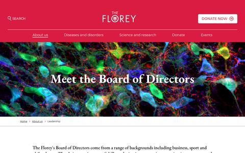 Screenshot of Team Page florey.edu.au - Leadership - Florey - captured June 26, 2018