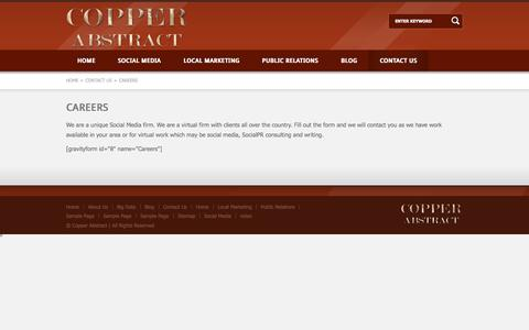 Screenshot of Jobs Page copperabstract.com - Copper Abstract Inc.   Careers - captured Sept. 30, 2014