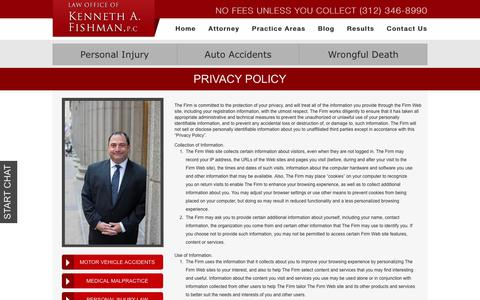 Screenshot of Privacy Page fishmanlaw.com - Privacy Policy | Kenneth A. Fishman, P.C. | Chicago Injury Lawyer - captured Oct. 10, 2018
