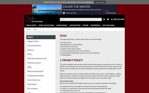 Screenshot of Terms Page mrandmrssmith.com - Legal - captured Oct. 29, 2014