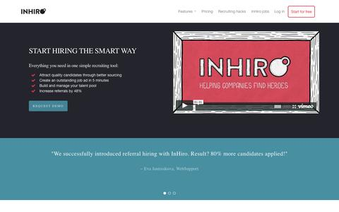 Screenshot of Home Page inhiro.com - InHiro recruiting tool - Start hiring the smart way - captured Aug. 3, 2015