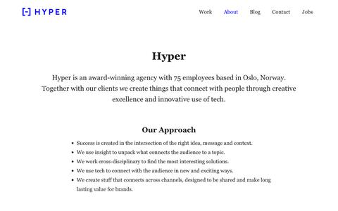 Screenshot of About Page hyper.no - About – Hyper - captured Sept. 30, 2018