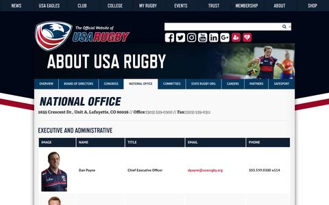 Screenshot of Contact Page usarugby.org - National Office Staff Directory | USA Rugby - captured Oct. 5, 2016