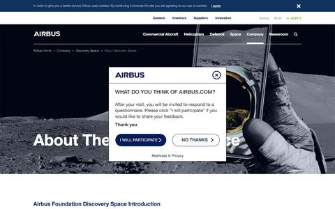 Screenshot of About Page airbus.com - About Discovery Space - captured July 9, 2018