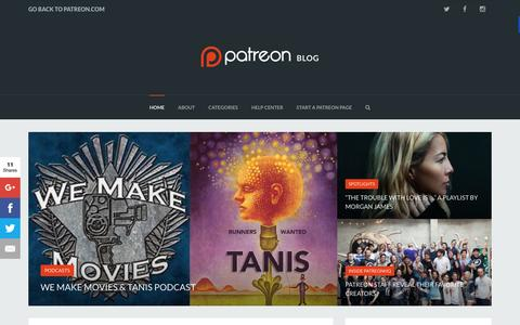 Screenshot of Blog patreon.com - The Patreon Blog - Empowering Creators - captured April 11, 2016
