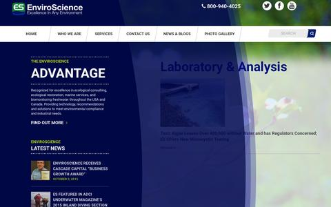 Screenshot of Services Page enviroscienceinc.com - Laboratory & Analysis Archives - Enviroscience : Enviroscience - captured Nov. 4, 2015