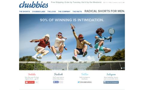 Screenshot of Home Page chubbiesshorts.com - Chubbies Shorts - captured July 11, 2014