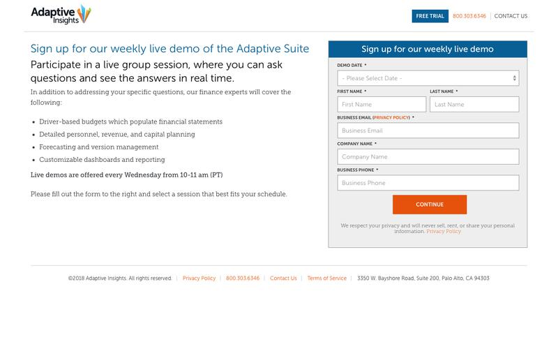 Sign up for our weekly live demo of the Adaptive Suite | Adaptive Insights