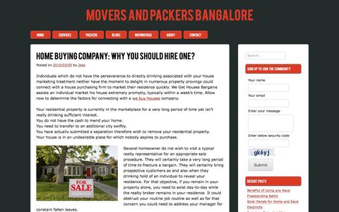Screenshot of moversandpackersbangalore.com - Home Buying Company: Why You Should Hire One? - captured March 15, 2017