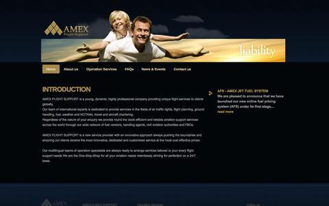 Screenshot of Home Page amexjet.com - AMEX FLIGHT SUPPORT - captured Oct. 4, 2014