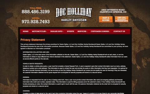 Screenshot of Privacy Page dochollidayharley.com - Privacy | Doc Holliday Harley-Davidson® | Glenwood Springs Colorado - captured Oct. 4, 2014