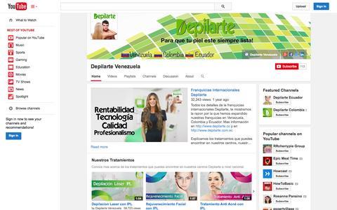 Screenshot of YouTube Page youtube.com - Depilarte Venezuela  - YouTube - captured Oct. 27, 2014