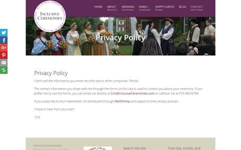 Screenshot of Privacy Page inclusiveceremonies.com - Privacy Policy - Inclusive CeremoniesInclusive Ceremonies - captured Oct. 11, 2018