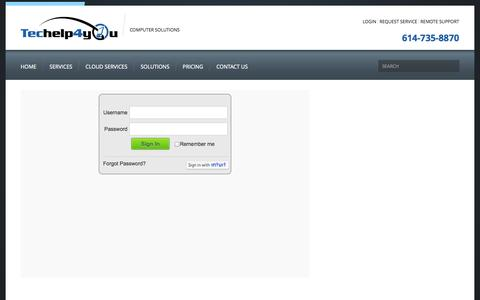Screenshot of Login Page techelp4you.com - Login  |  Techelp4you Solutions LLC - captured Oct. 7, 2014