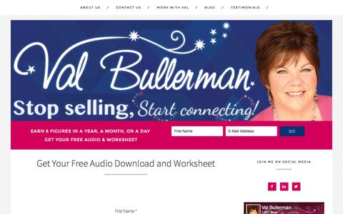 Screenshot of Signup Page valbullerman.com - Get Your Free Audio Download and Worksheet - captured Nov. 28, 2016