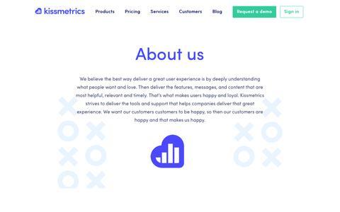 Screenshot of About Page kissmetrics.com - About Us - Kissmetrics - captured May 9, 2017