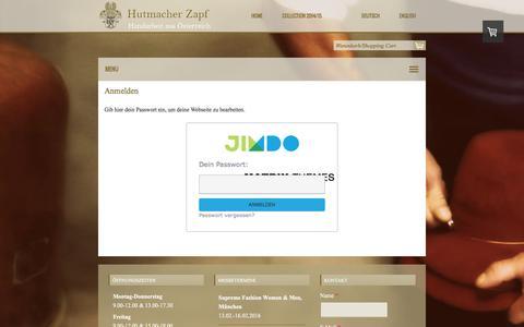 Screenshot of Login Page zapf.at - Anmelden - Hutmacher Zapf - captured Feb. 2, 2016