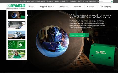Screenshot of Home Page praxair.com - Industrial Gases, Supply, Equipment & Services | Praxair, Inc. - captured Dec. 16, 2015