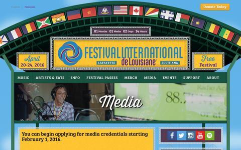Screenshot of Press Page festivalinternational.org - Media   Festival International de Louisiane - captured March 11, 2016
