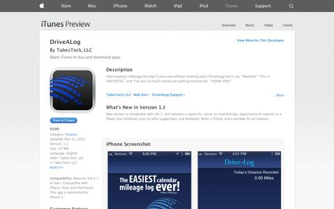 Screenshot of iOS App Page apple.com - DriveALog on the App Store on iTunes - captured Oct. 23, 2014