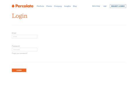 Screenshot of Login Page percolate.com - Login || Percolate - captured July 19, 2014
