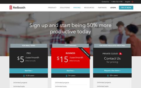 Screenshot of Pricing Page redbooth.com - Redbooth Plans and Pricing - captured Dec. 18, 2015