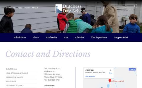 Screenshot of Contact Page Maps & Directions Page dutchessday.org - Contact and Directions - captured Oct. 26, 2018