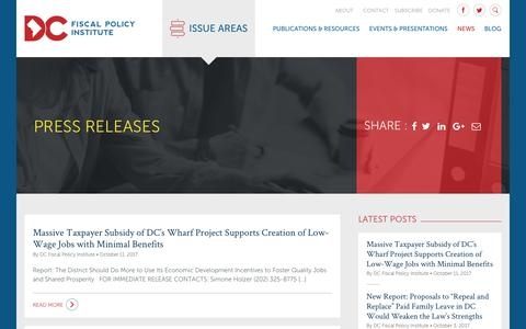 Screenshot of Press Page dcfpi.org - Press Releases Archives - DC Fiscal Policy Institute - captured Oct. 11, 2017