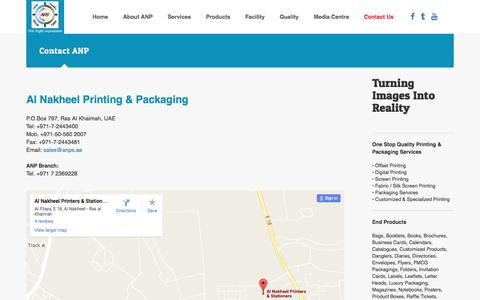 Screenshot of Contact Page anps.ae - Al Nakheel Printing & Packaging. Ras Al Khaimah. United Arab Emirates. Leading Printing press company offers commercial printing, offset printing, digital printing, screen printing for public and private sector organisations in Rak, Dubai, Abudhabi,  - captured Nov. 20, 2016