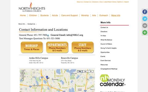 Screenshot of Contact Page Maps & Directions Page nhlc.org - North Heights Contact Us - captured Oct. 25, 2014