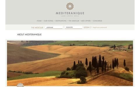 Screenshot of About Page mediteranique.com - Luxury Boutique & Lifestyle Hotels - About Mediteranique    Mediteranique - captured Oct. 2, 2014