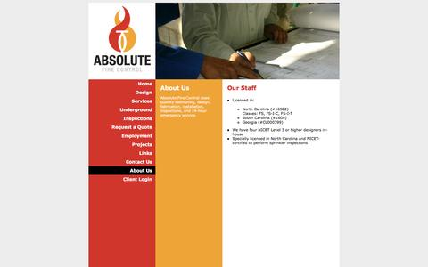 Screenshot of About Page absolutefirecontrol.com - Absolute Fire Control - captured Feb. 5, 2016