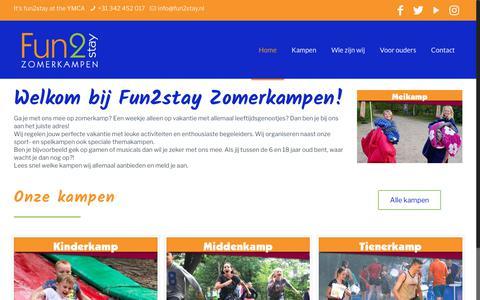Screenshot of Home Page fun2stay.nl - Fun2stay – Zomerkampen - captured Oct. 11, 2018