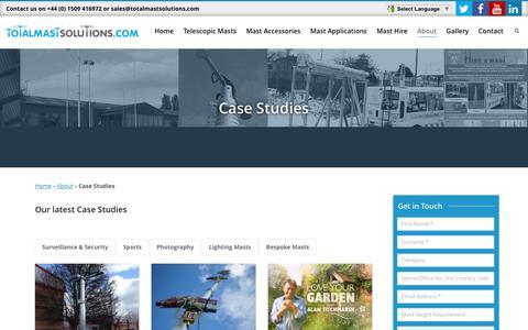 Screenshot of Case Studies Page totalmastsolutions.com - Telescopic Mast | Case Studies | Total Mast Solutions - captured Dec. 13, 2016